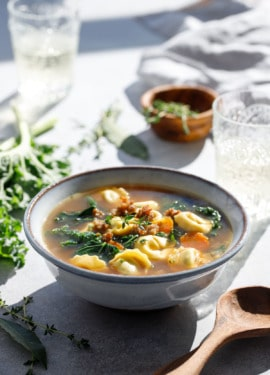 Tortellini Soup with Italian Sausage and Kale