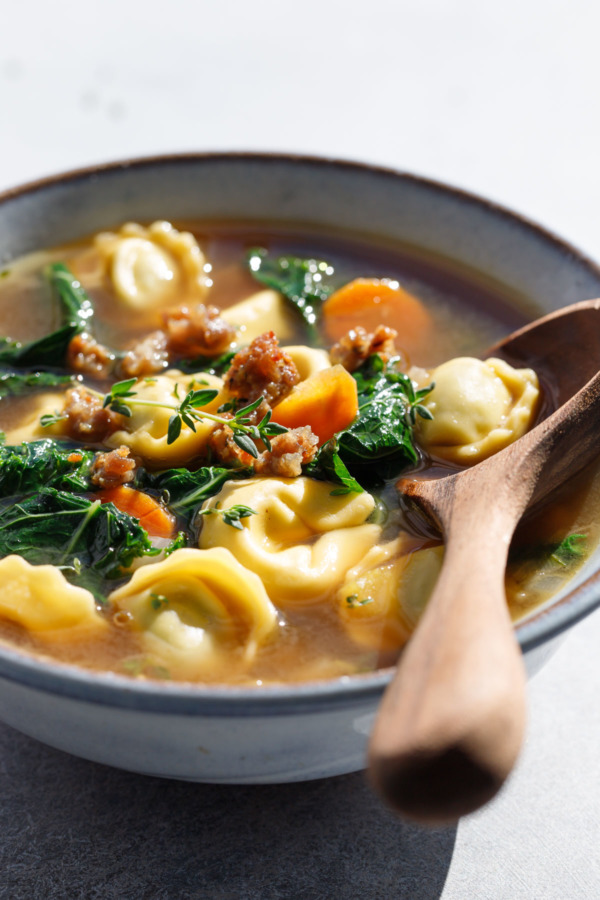 Tortellini Soup with Sausage and Kale