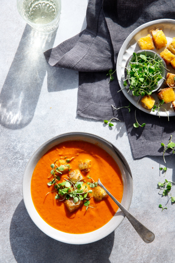 Winter Tomato Soup Recipe with Cheesy Croutons