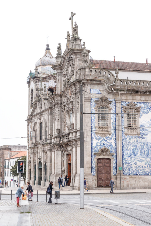 Beautiful blue tile mural in Porto, Portugal