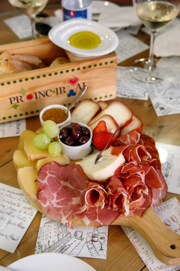Charcuterie board and wine tasting at All In Porto