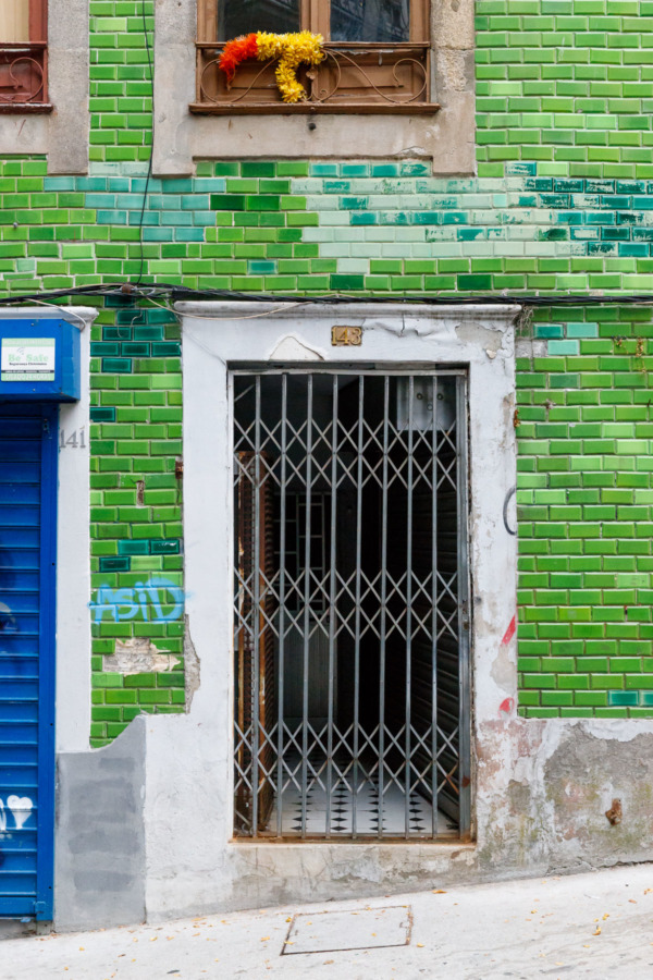 Gorgeous green tile building in Porto, Portugal