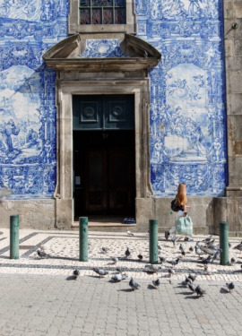 Beautiful tiled facade of the Chapel of Souls, Porto, Portugal