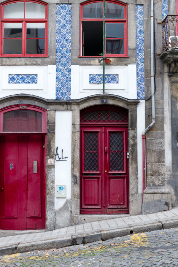 Red doors. Blue tiles. I love the colors of Porto, Portugal