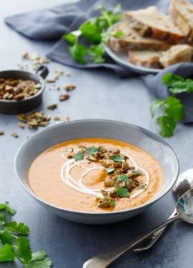 Creamy Butternut Squash Soup Recipe with Orange and Saffron