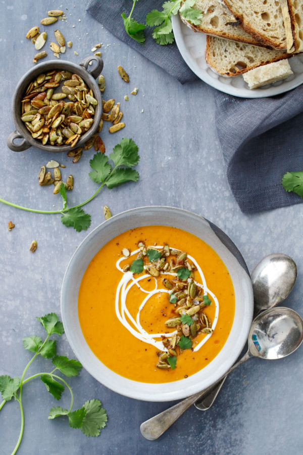 Creamy Butternut Squash Soup with Orange and Saffron
