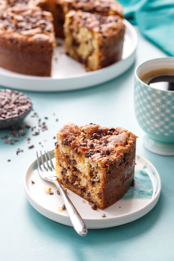 Slice of Sour Cream Chocolate Chip Coffee Cake