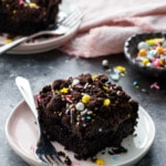 Dark Chocolate Sheet Cake Recipe with Chocolate Cookie Crumbles