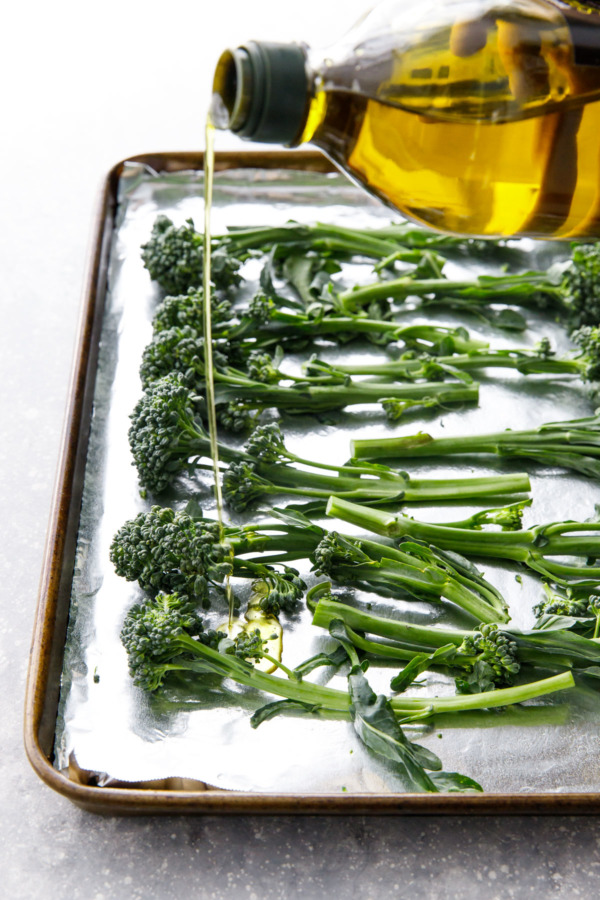 Crispy Oven-Roasted Broccolini with olive oil and soy sause