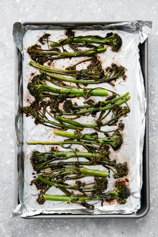 After baking: Crispy Oven-Roasted Broccolini