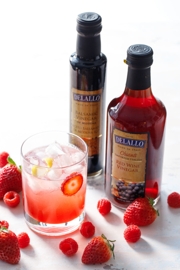 Homemade fruit shrubs made with Delallo gourmet vinegars