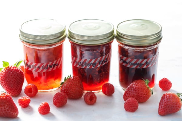 Homemade fruit shrub: 3 ways (strawberry red wine, strawberry balsamic, and raspberry rose).
