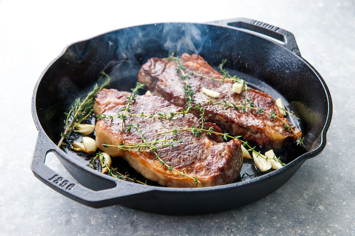 Reverse Sear Steak with Garlic and Thyme
