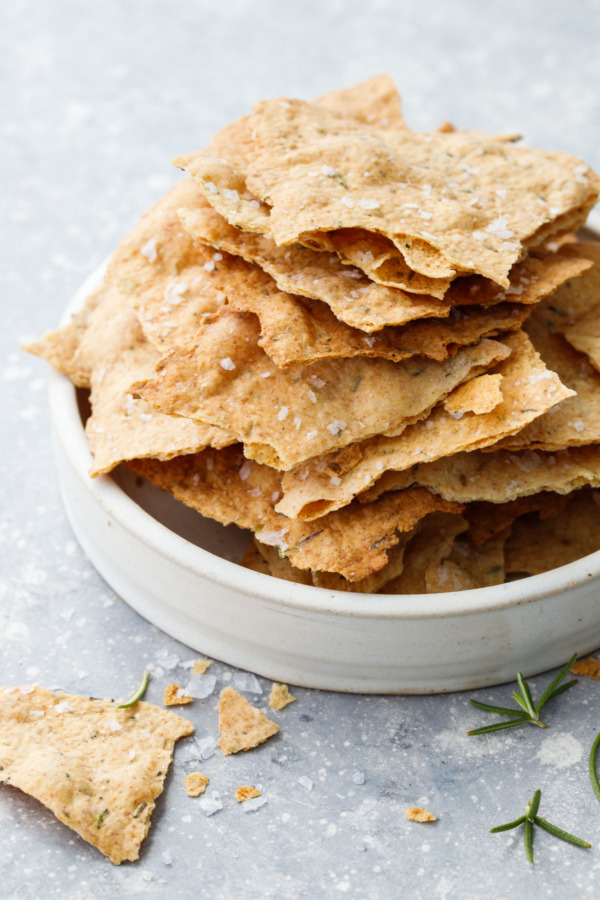 Super thin olive oil crackers made with discarded sourdough starter