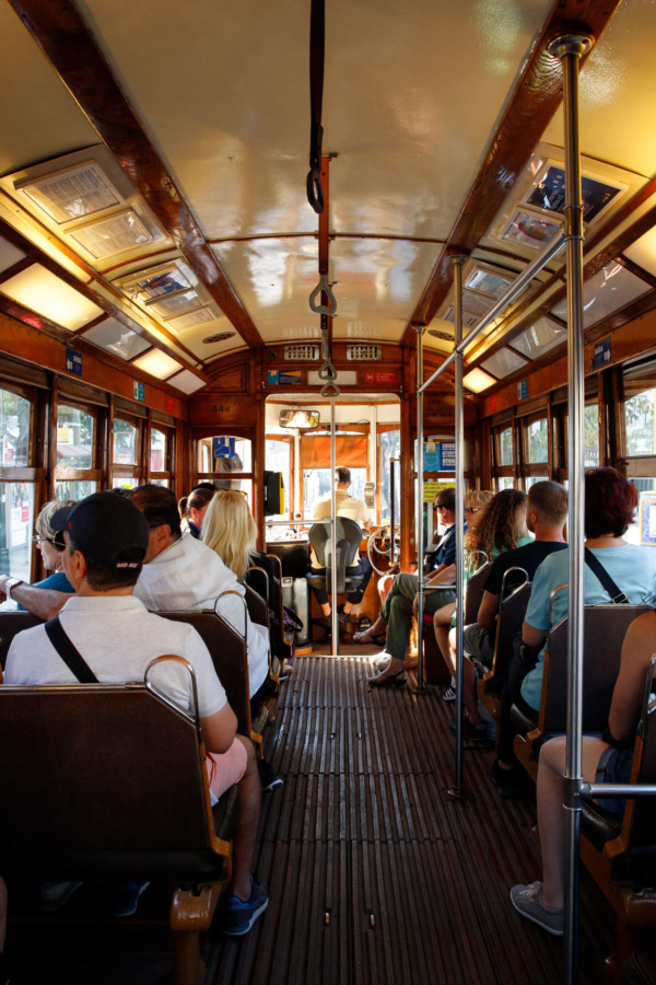 Riding the historic 28E tram in Lisbon, Portugal