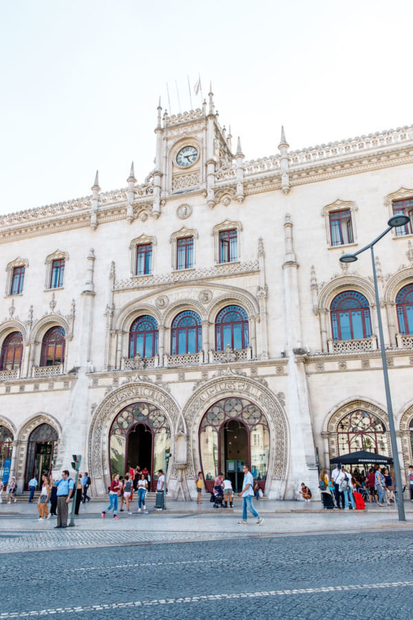 The front of the Rossio train station in Lisbon, Portugal