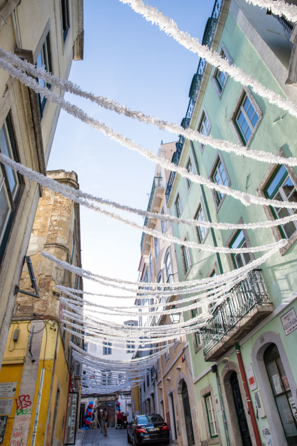 Streamer-lined streets in the Barrio Alto neighborhood ,Lisbon, Portugal
