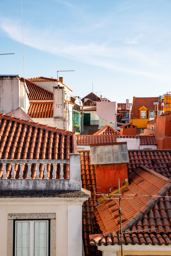 Looking out over the colorful rooftops of the Alfama district, Lisbon, Portugal