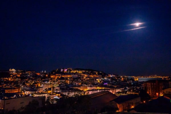 Looking out over Lisbon, Portugal at night.