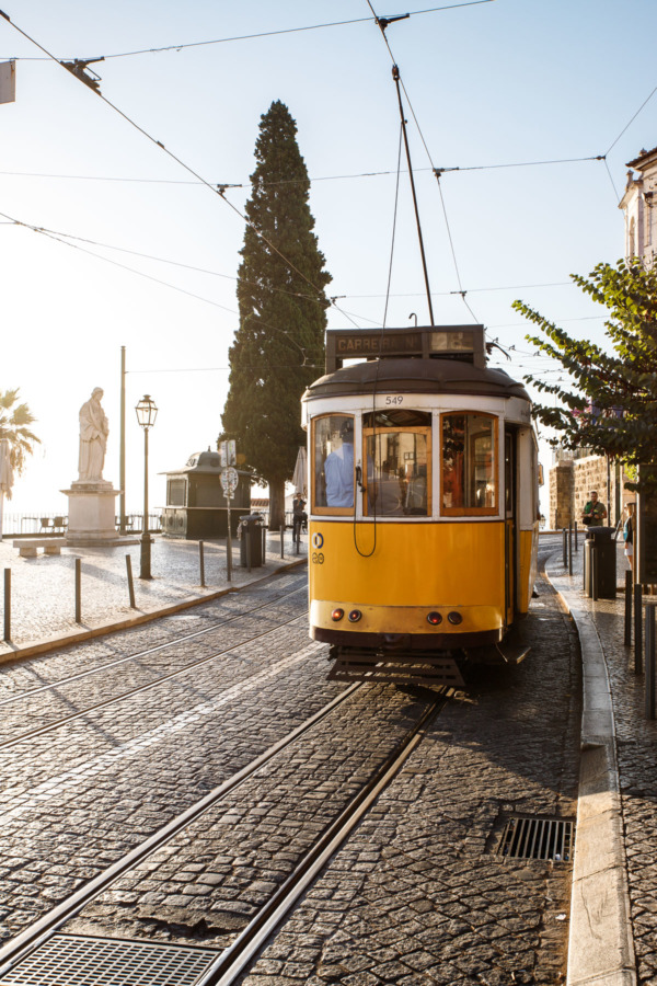 The historic 28E tram in Lisbon, Portugal
