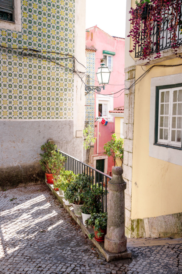 Colorful buildings in the Alfama district of Lisbon, Portugal
