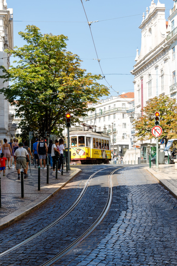 the historic 28E tram in the historic Chiado neighborhood of Lisbon, Portugal