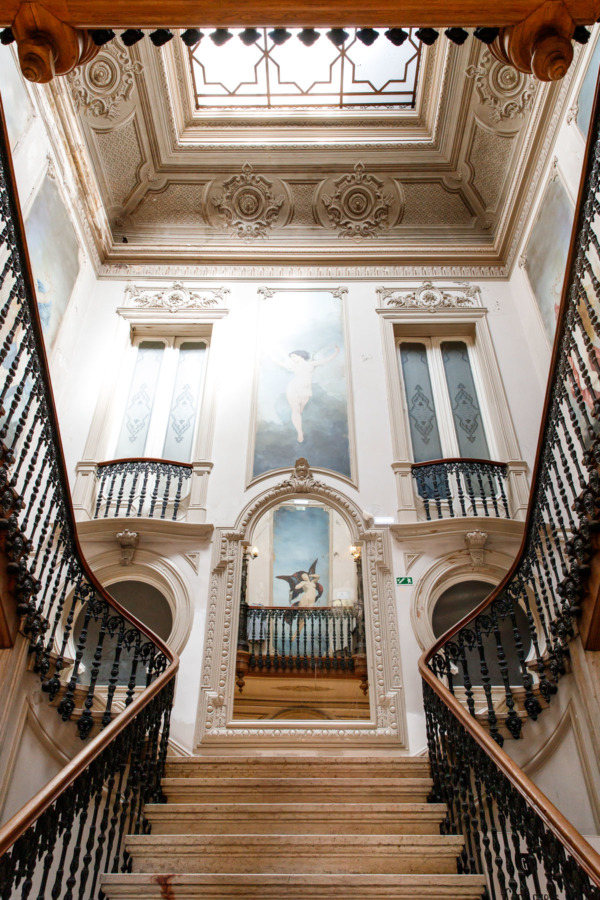 The grand staircase inside Embaixada, a former Arabian palace-turned-shopping gallery in Lisbon, Portugal