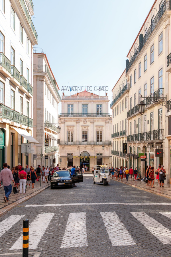 Looking down the street in the Chiado neighborhood, Lisbon, Portugal
