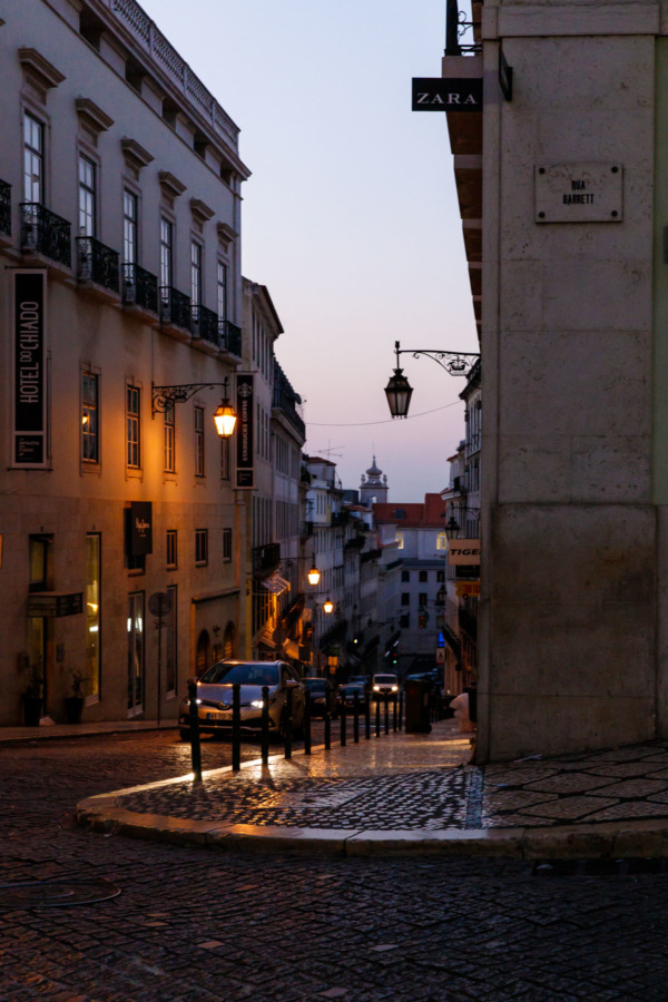Streets of Lisbon, Portgual at dawn.
