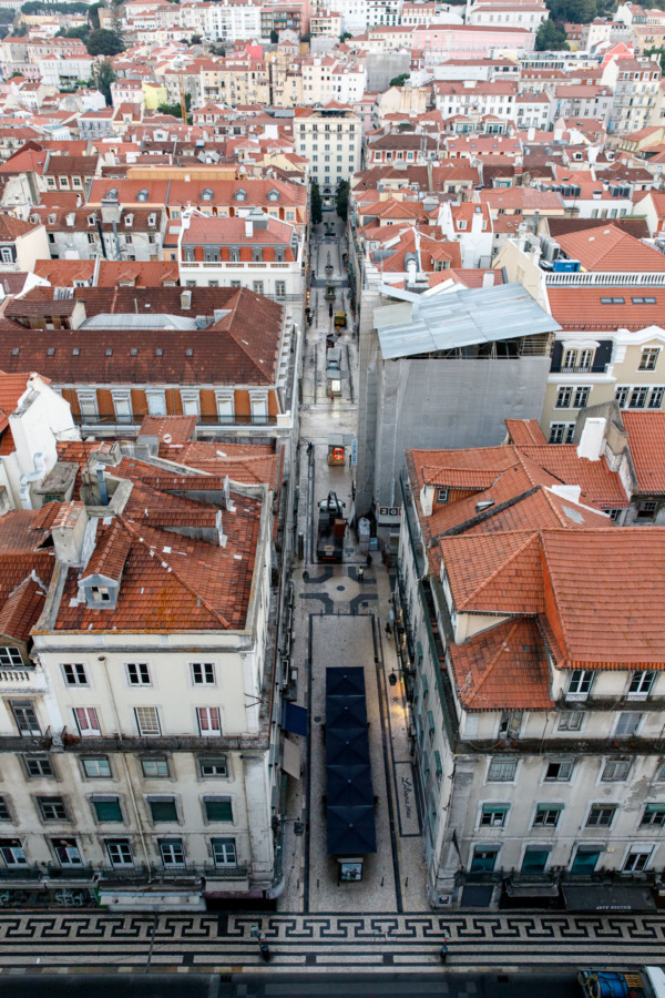 Looking down on the streets of Lisbon, Portgual from the Santa Justa Lift, Lisbon, Portugal