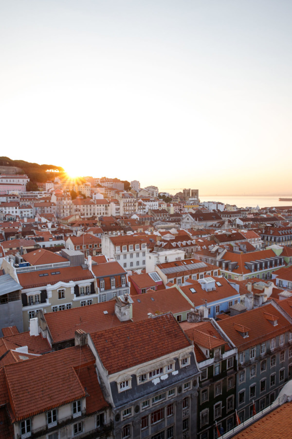 Sunset over the rooftops of Lisbon, Portgual, view from the Santa Justa Lift