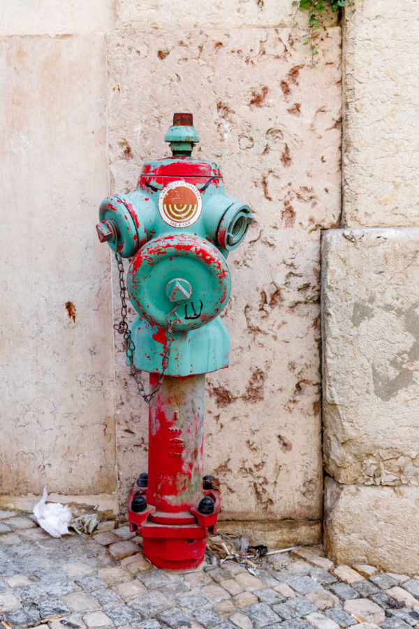 Colorful fire-hydrant in Lisbon, Portugal