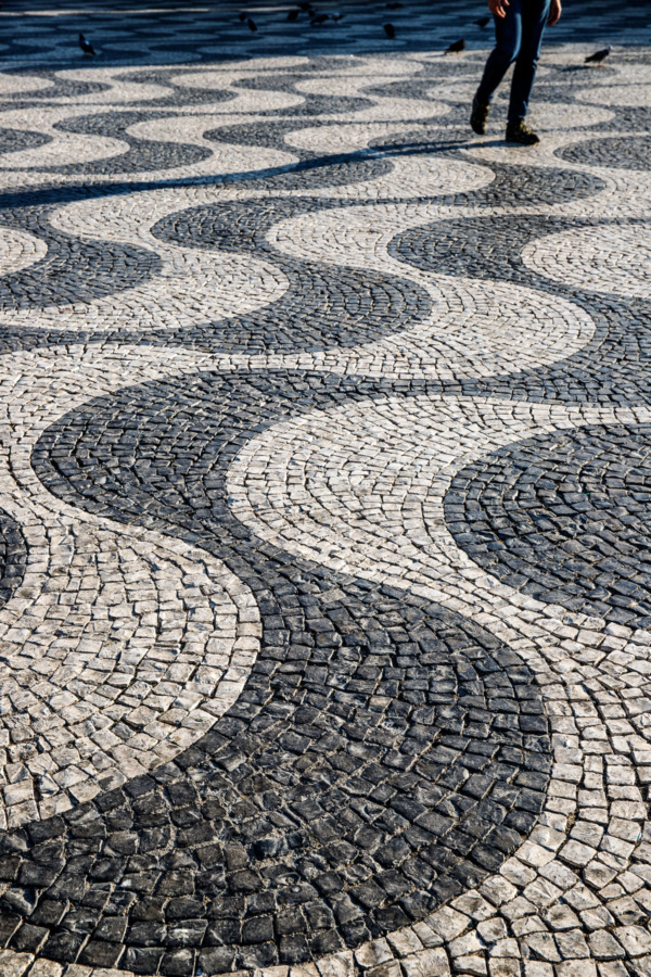 Gorgeous mosaic paving in the Praça Dom Pedro IV square in Lisbon, Portugal