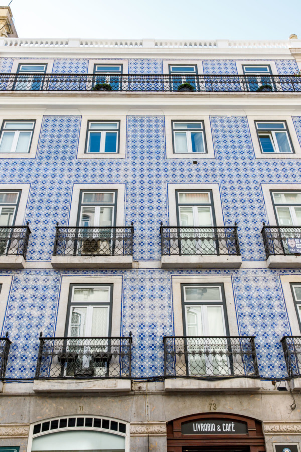 Blue and white tiled building in Lisbon, Portugal