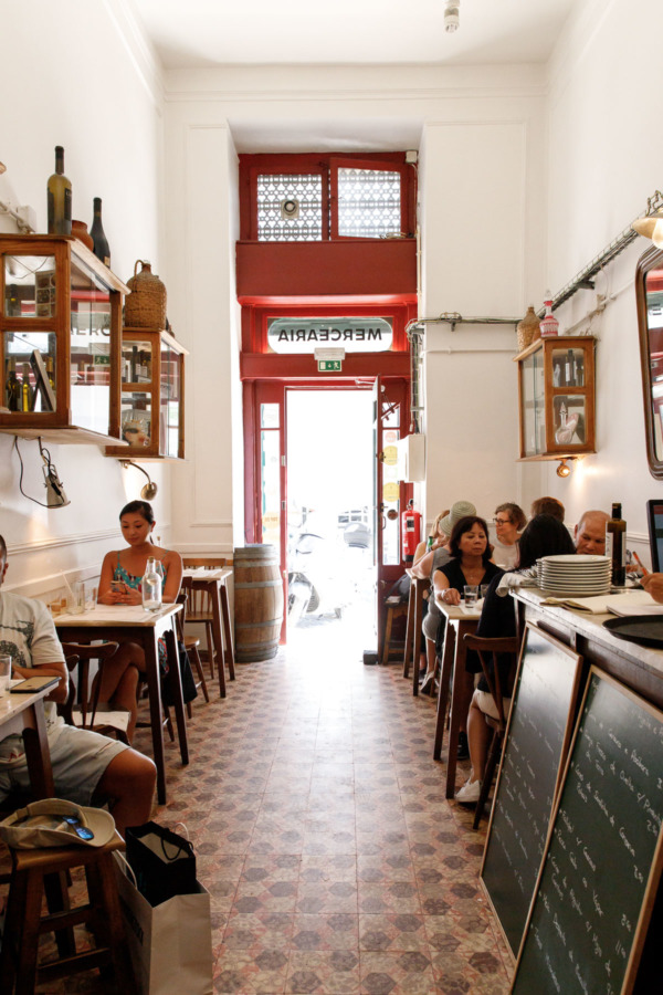 Interior of Taberna da Rua das Flores restaurant in Lisbon, Portugal