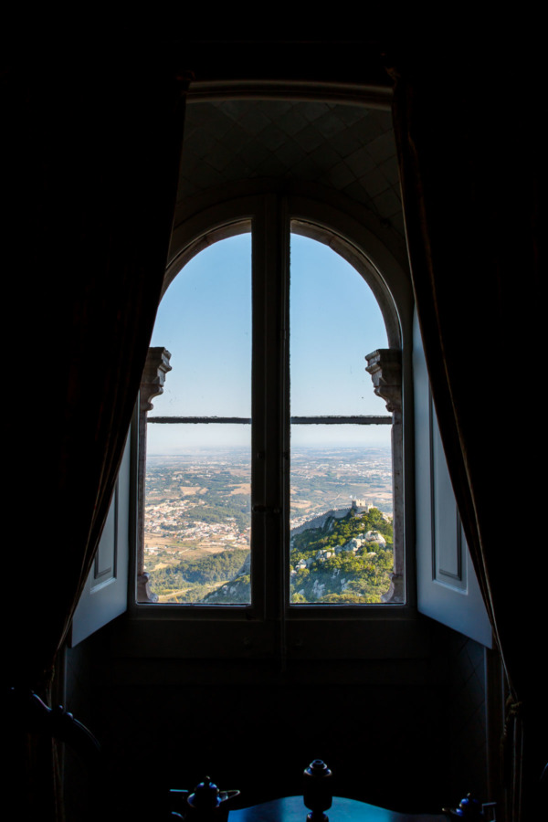Looking out the window of the Pena Palace, with the Moorish Castle in the distance (Sintra, Portugal)