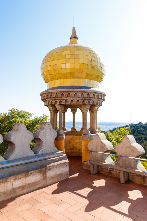 Yellow tiles and amazing view of the valley from the Pena Palace in Sintra, Portugal