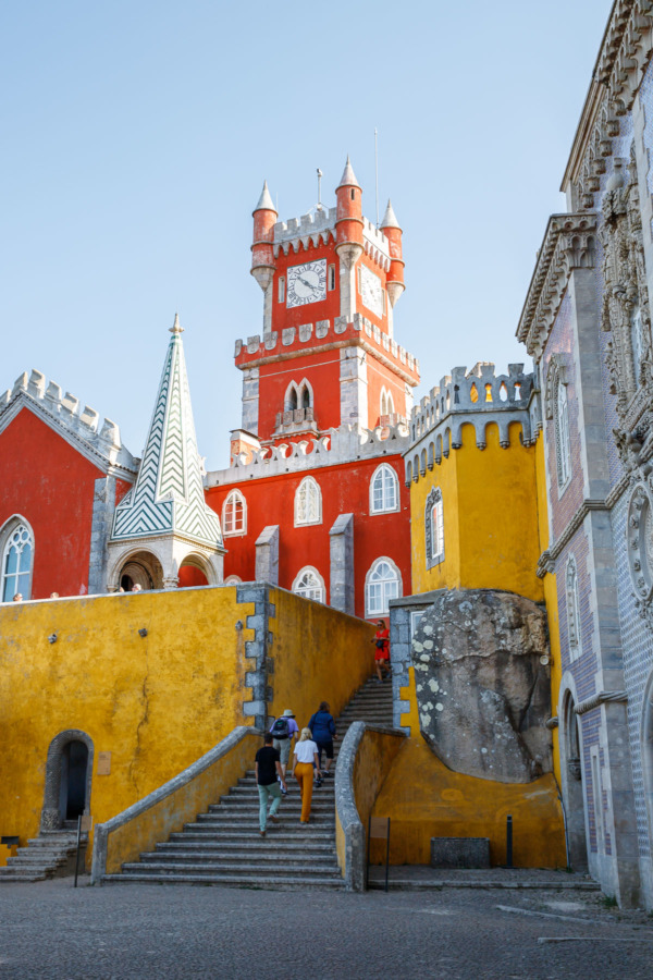 The multi-colored architecture of the Pena Palace in Sintra, Portugal