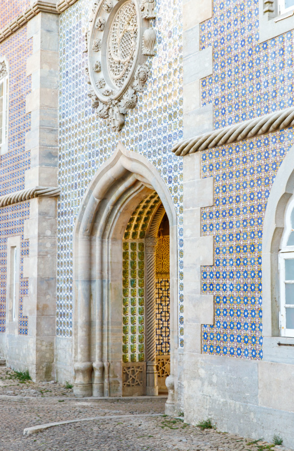 Beautifully tiled archway in the Pena Palace, Sintra, Portugal