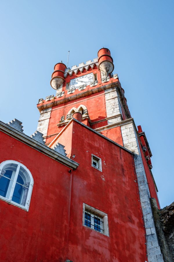 Red clocktower of the Pena Palace, Sintra, Portugal
