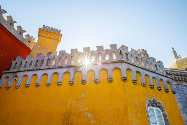 Sun shining through the walls of the Pena Palace in Sintra, Portugal
