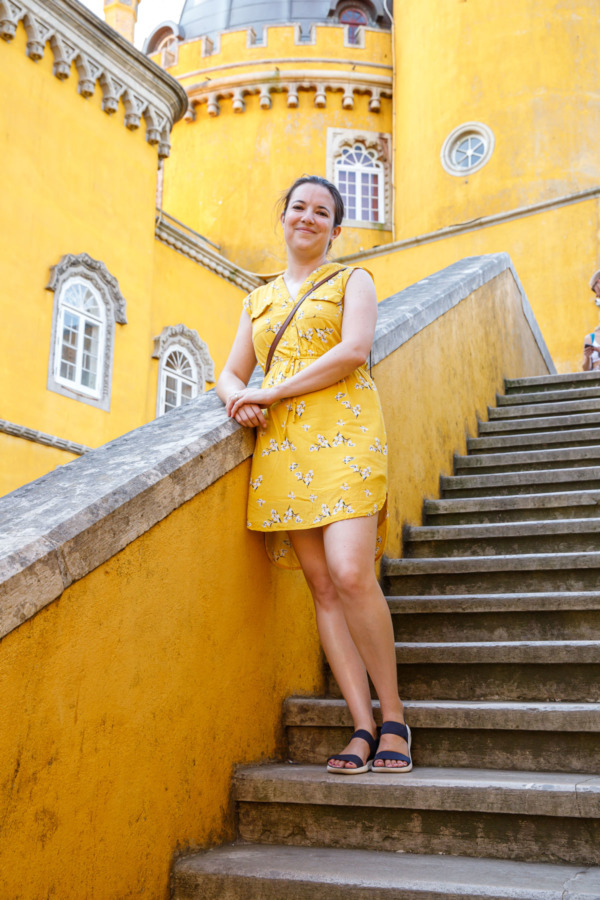 When you accidentally wear a yellow dress to the Pena Palace in Sintra, Portugal