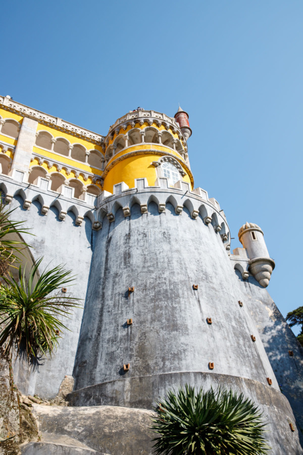 Looking up at the colorful towers of the Pena Palace in Sintra, Portugal
