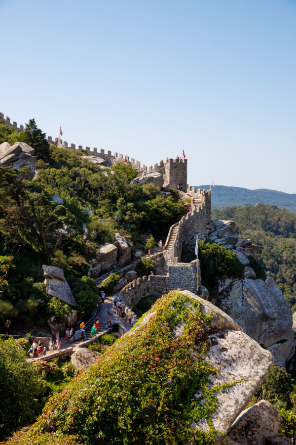 The winding hilltop walls of the medieval castle of the Moors in Sintra, Portugal