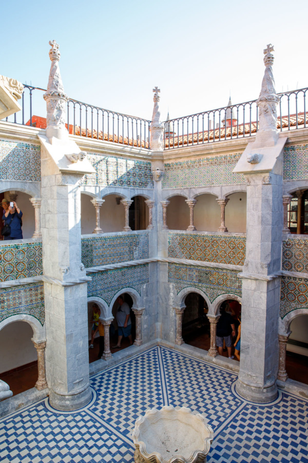 Interior courtyard of the Pena Palace in Sintra, Portugal
