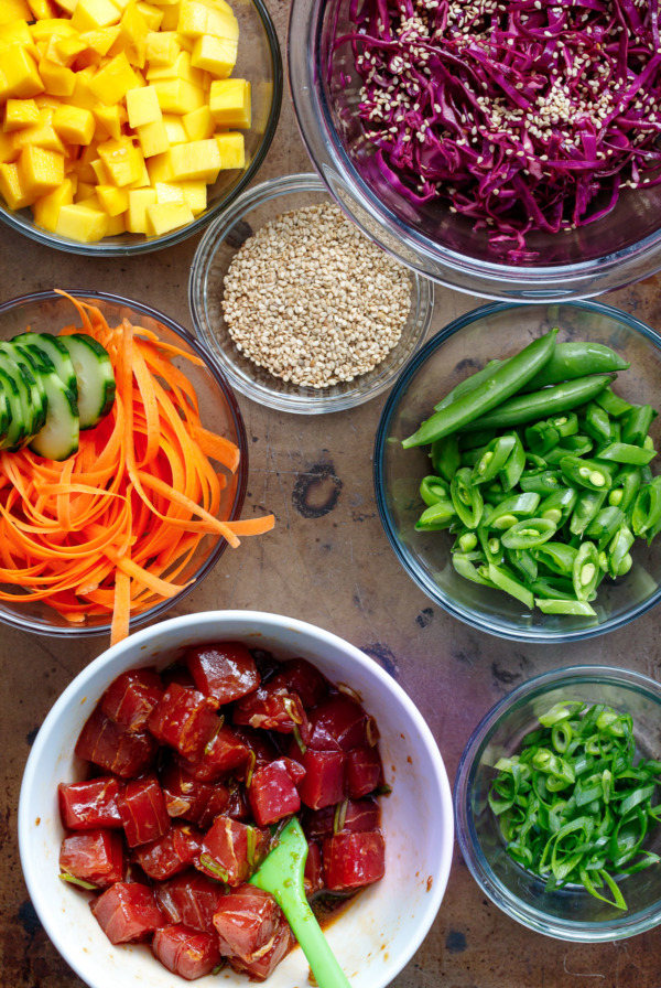 The ingredients to make Ahi Mango Poke, laid out on a cookie sheet.