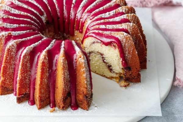 Strawberry Hibiscus Swirl Bundt Cake