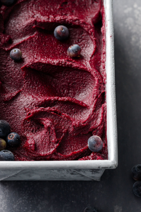 Closeup of Blueberry Ginger Sorbet frozen in a metal loaf pan