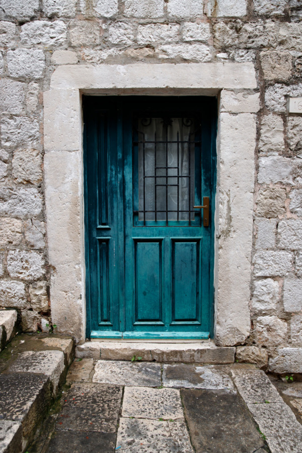 Turquoise door in Dubrovnik, Croatia