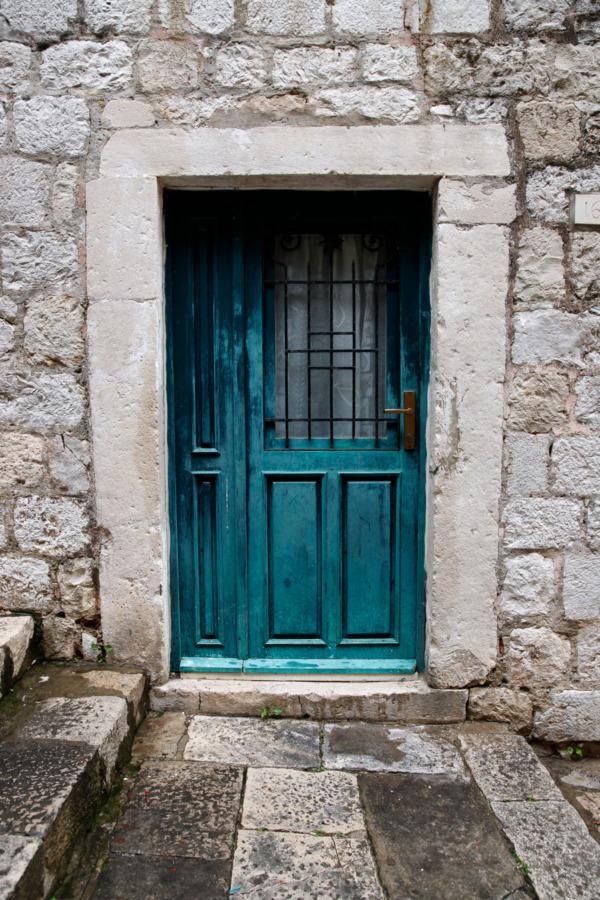 Turquoise door in Dubrovnik, Croatia